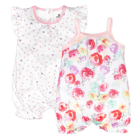 2-Piece Organic Cotton Short Sleeve and Tank Bubble Romper, Rose Blossom/Love Dot