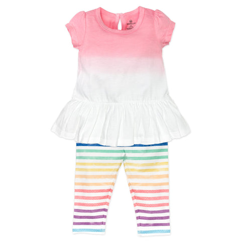 2-Piece Organic Tunic & Legging Set, Rainbow Stripe