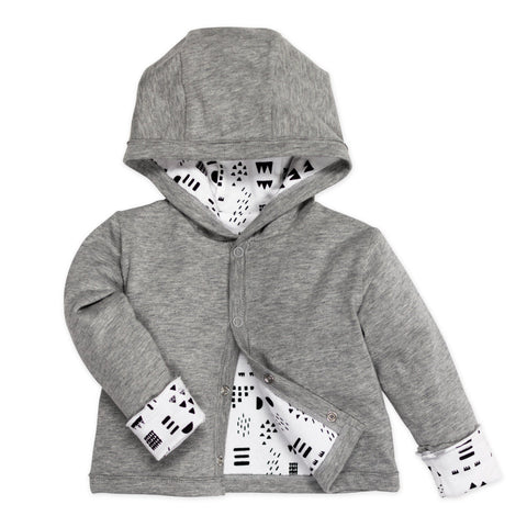 Organic Cotton Reversible Hoodie, Pattern Play