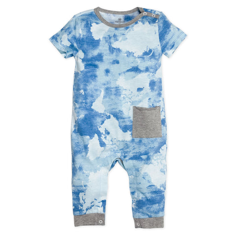 Organic Cotton Snap-Shoulder Coverall, Watercolor World