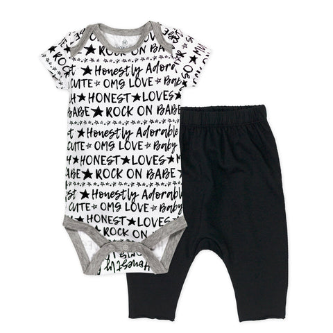 2-Piece Organic Cotton Short Sleeve Bodysuit and Harem Pant Set, Rockstar
