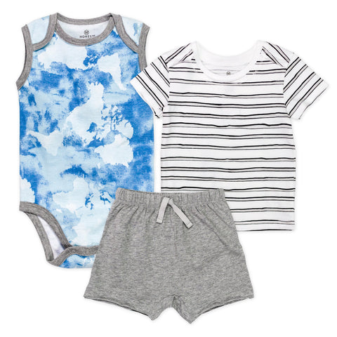 3-Piece Organic Cotton Tshirt, Sleeveless Bodysuit, Short Set, Watercolor World
