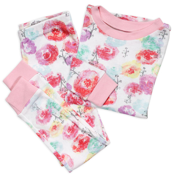 2-Piece Organic Cotton Pajama, Rose Blossom