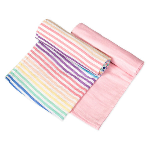 2-Pack Organic Cotton Swaddle Blankets, Rainbow Stripe/Pink