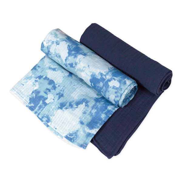 2-Pack Organic Cotton Swaddle Blankets, Watercolor World/Navy