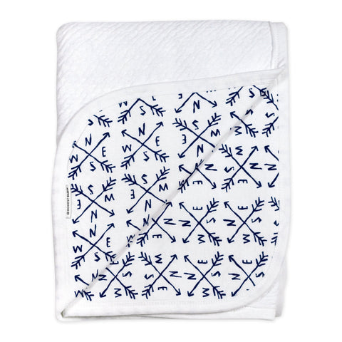 Organic Cotton Matelasse Reversible Receiving Blanket, Compass