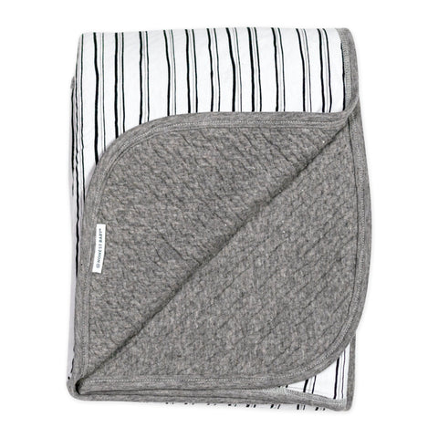 Organic Cotton Matelasse Reversible Receiving Blanket, Sketchy Stripe