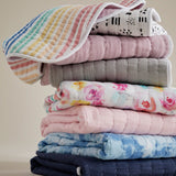 Organic Cotton Hand-Quilted Blanket, Watercolor World