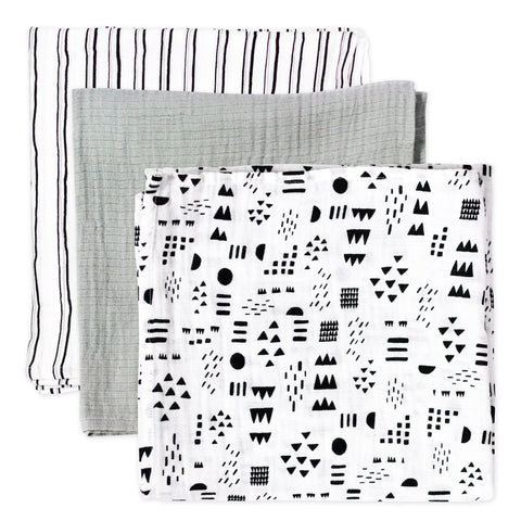 3-Pack Organic Cotton Swaddling Blankets, Pattern Play
