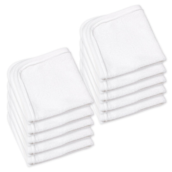 10-Pack Organic Cotton Baby-Terry Wash Cloths, Bright White