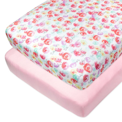 2-Pack Organic Cotton Fitted Crib Sheets, Rose Blossom