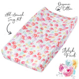 Organic Cotton Changing Pad Cover, Rose Blossom Featured