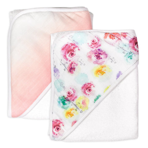 2-Pack Organic Cotton Hooded Towels, Rose Blossom/Dip Dye Pink