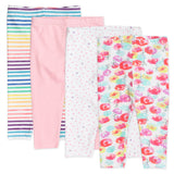 4-Pack Organic Cotton Leggings, Rose Blossom Featured