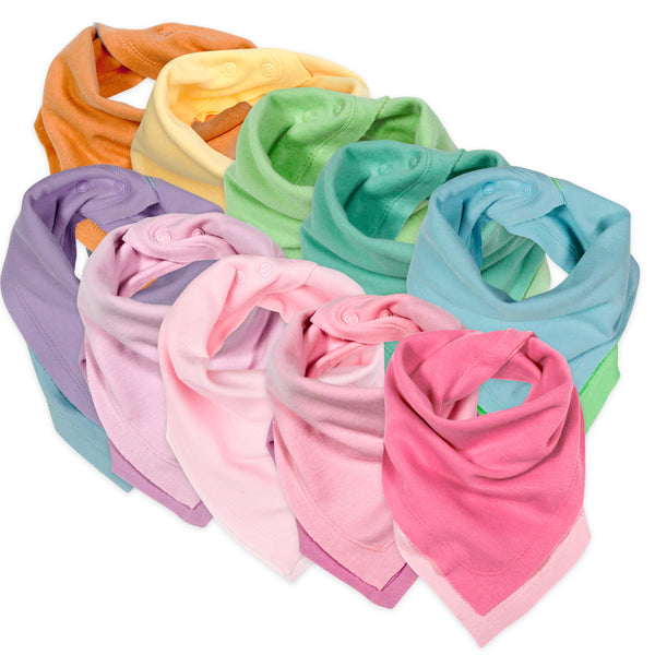 10-Pack Organic Cotton Reversible Bandana Bib Burp Cloths, Rainbow Girl