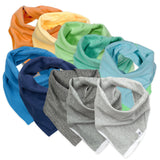 10-Pack Organic Cotton Reversible Bandana Bib Burp Cloths, Rainbow Boy