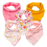 5-Pack Organic Cotton Reversible Bandana Bib Burp Cloths, Daisy Burst