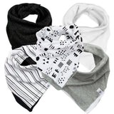 5-Pack Organic Cotton Reversible Bandana Bib Burp Cloths, Pattern Play