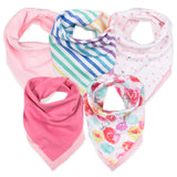 5-Pack Organic Cotton Reversible Bandana Bib Burp Cloths, Rose Blossom