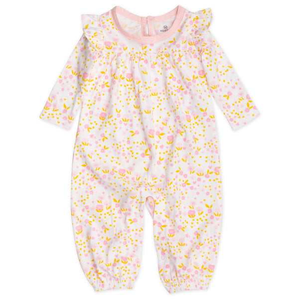 Organic Cotton Long Flutter Sleeve Coverall, Daisy Burst