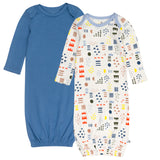 2-Pack Organic Cotton Sleeper Gowns, Multi Colored Pattern Play