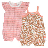 2-Piece Organic Cotton Short Sleeve and Tank Bubble Romper, Mushroom Papercut Floral