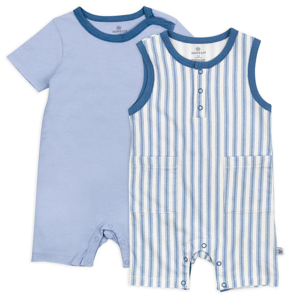 2-Piece Organic Cotton Short Sleeve and Tank Romper, Blue Ticking Stripe