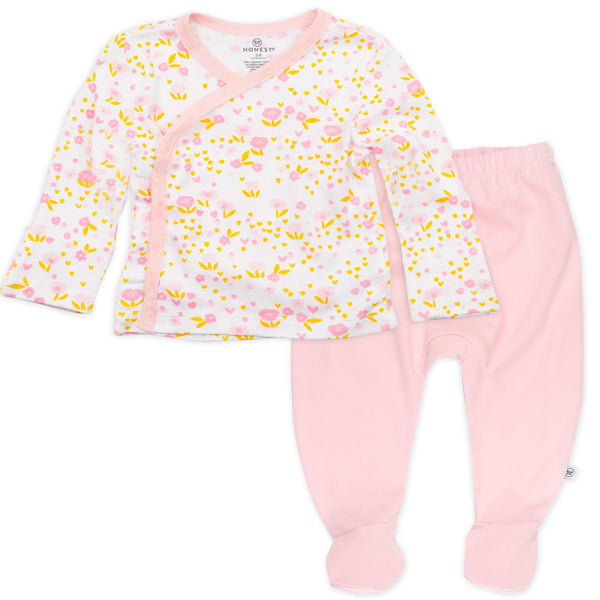 2-Piece Organic Cotton Side-Snap Top and Pant, Daisy Blush