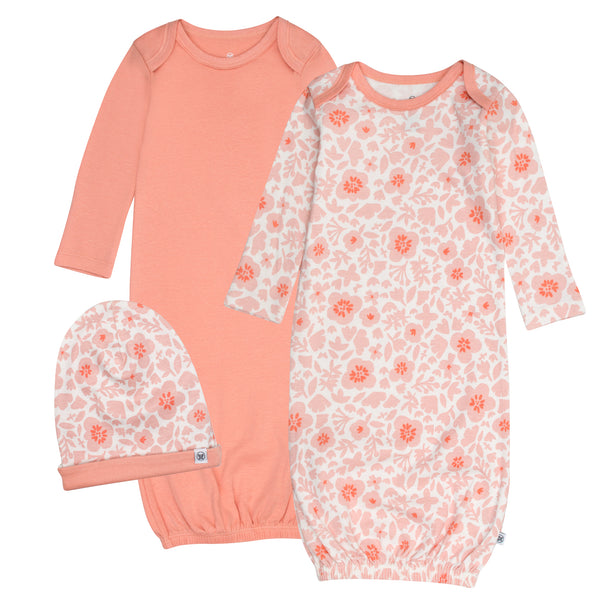 2-Pack Organic Cotton Gowns with Beanie, Peach Skin Papercut Floral