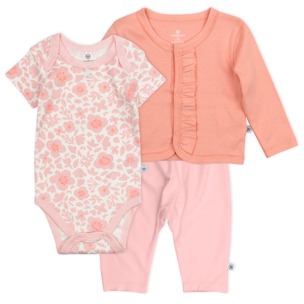 3-Piece Organic Cotton Bodysuit, Pant, Ruffled Cardigan, Peach Skin Papercut Floral