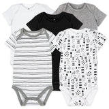 5-Pack Organic Cotton Short Sleeve Bodysuits, Pattern Play