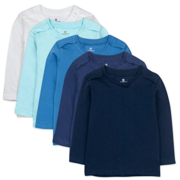 5-Pack Organic Cotton Long Sleeve T-Shirts, Blue Ombre