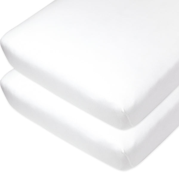 2-Pack Organic Cotton Fitted Crib Sheets, Pure White