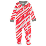 Organic Cotton Holiday Snug-Fit Footed Pajama, Candy Cane
