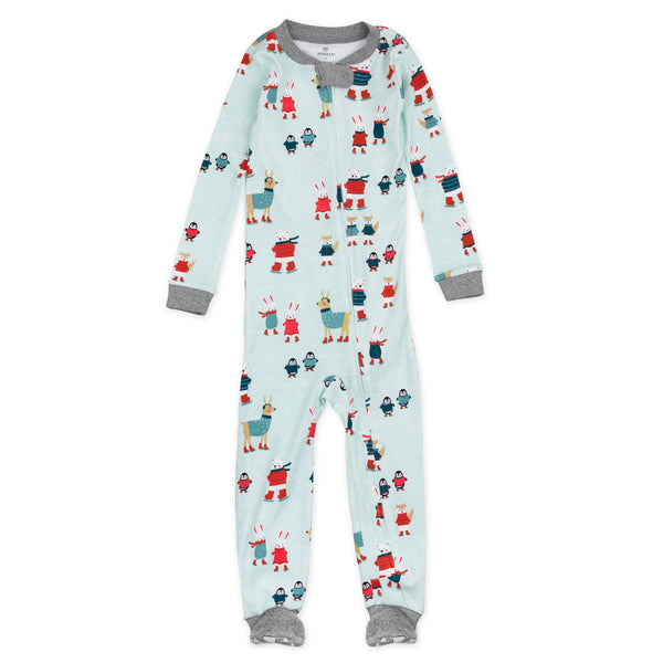HonestBaby Baby Organic Cotton Snug-Fit Footed Pajamas Candy Cane 12 Months