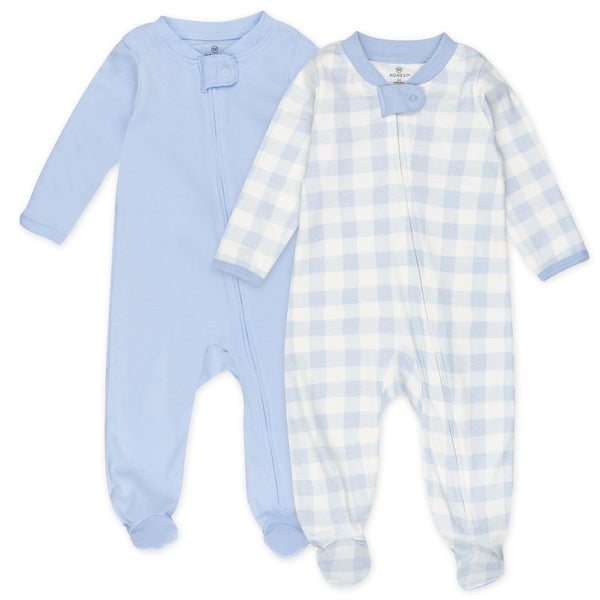 2-Pack Organic Cotton Sleep & Plays, Blue Painted Buffalo Check