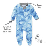 2-Pack Organic Cotton Sleep & Plays, Watercolor World/Teal Blue