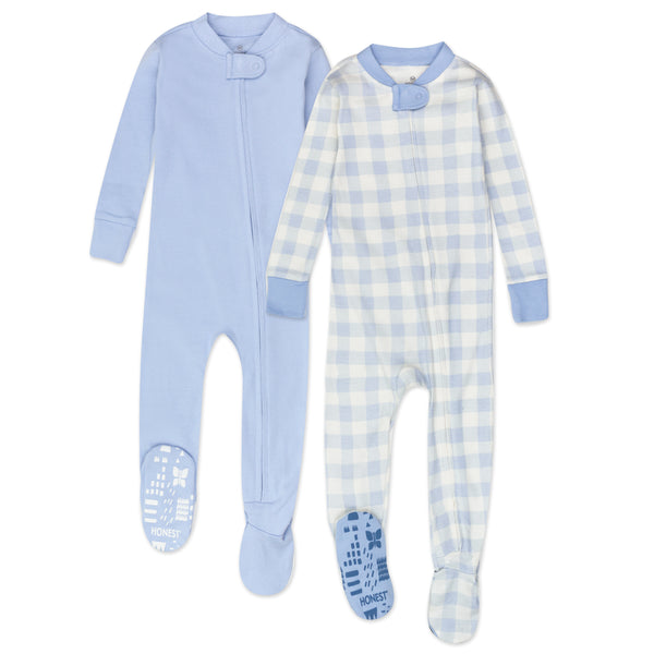 2-Pack Organic Cotton Snug-Fit Footed Pajamas, Blue Painted Buffalo Check