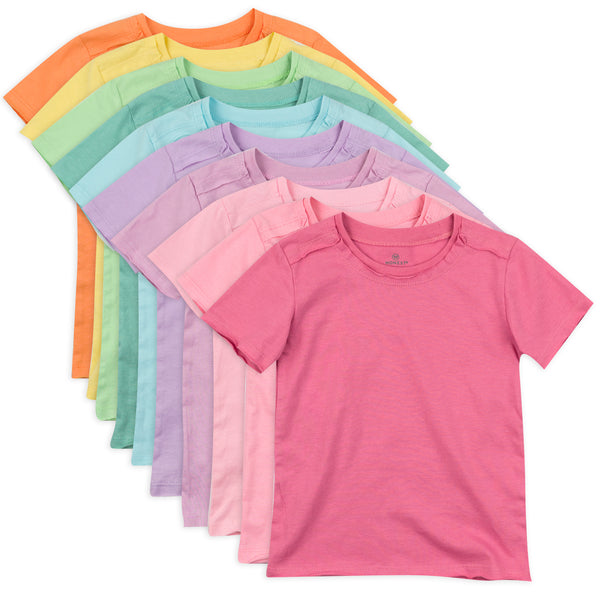10-Pack Organic Cotton Short Sleeve T-Shirts, Rainbow Girl