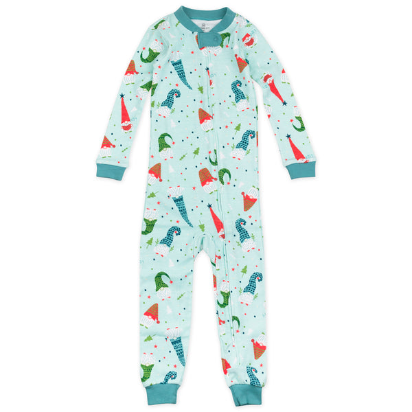 Organic Cotton Holiday Snug Fit Footless Pajama, Gnomies for Life