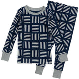 2-Piece Organic Cotton Pajamas, Sketchy Square Dark Navy