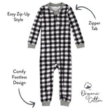 Organic Cotton Holiday Snug Fit Footless Pajama, Painted Buffalo Check Print
