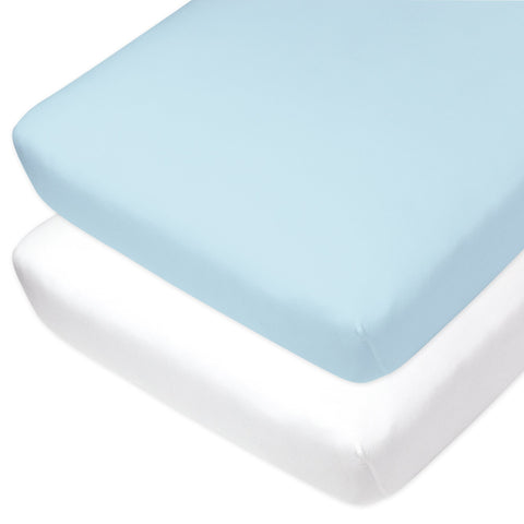 2-Pack Organic Cotton Fitted Crib Sheets, Light Blue/White