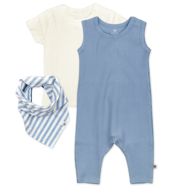 3-Piece Organic Cotton Rib Romper with T-Shirt and Reversible Bib