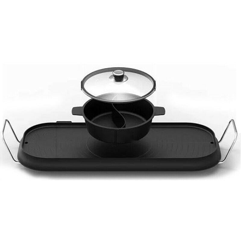 CMTM Electric BBQ Grill Plate Double Separate Stone Pan With Hot Pot Integrated Non Stick Smokeless - Ople Appliances