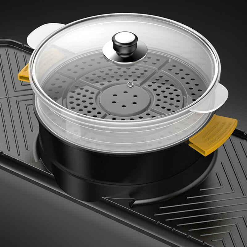 CMTM AU Electric 2 In 1 Twin-side Hotpot BBQ Oven Smokeless Barbecue Pan CMTM Grill Machine Korean BBQ Plate Black Large Size - Ople Appliances