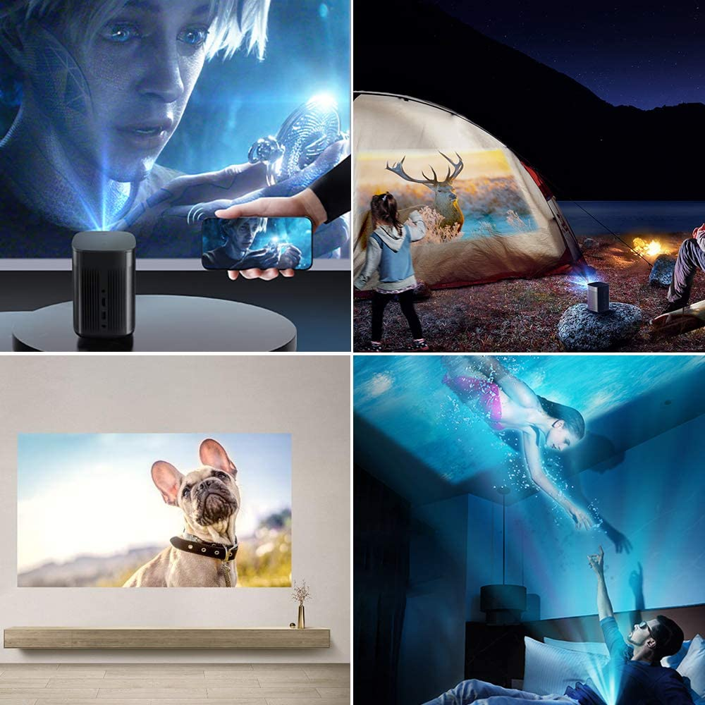 XGIMI MoGo Pro+ Android TV Projector,1080P Full HD Mini Smart Projector,Portable WiFi/Bluetooth Harman/Kardon Speaker,300 ANSI Lumen Indoor/Outdoor Theater Native Android 9.0 Video Projector