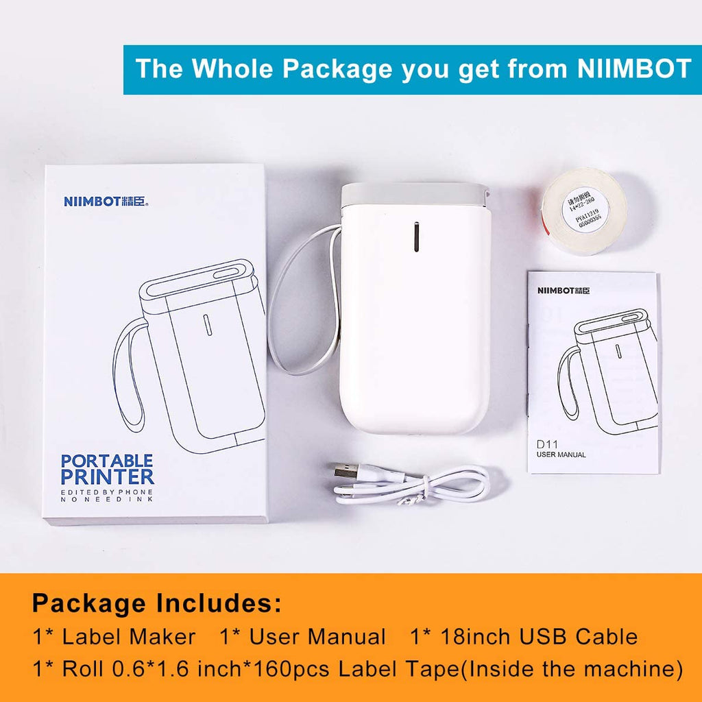 NiiMbot D11 2020 Protable Wireless Connection Label Printer Tape Included Multiple Templates Availabel for Cellphone Tablet Easy to Use USB Rechargeable