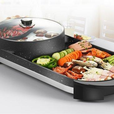 CMTM AU Electric 2 in 1 Hotpot BBQ Smokeless Barbecue Pan Grill Machine - Ople Appliances