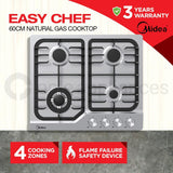 Midea MCG601SS 60cm Stainless Steel Gas Cooktop - Ople Appliances
